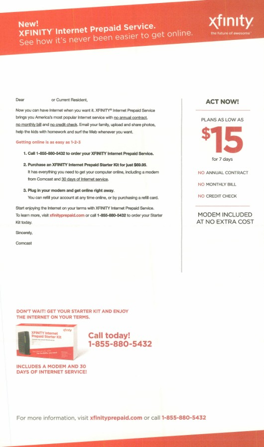 Comperemedia has collected a variety of direct marketing efforts for prepaid Xfinity services, such as this mailer, observed in August 2013.