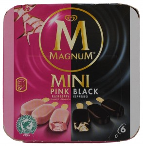 Pink Raspberry & Black Espresso Ice Cream Sticks, Magnum Mini, Portugal
